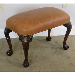Chippendale Style Carved Mahogany Ball & Claw Bench W/ Leather Seat Preview