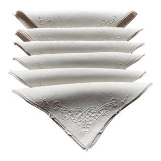 Vintage Embroidered Off-White Linen Cocktail Napkins- Set of 6 For Sale
