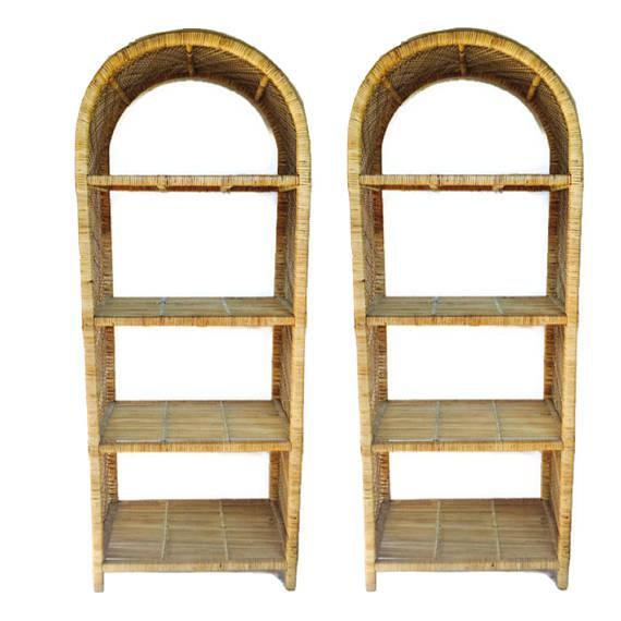 Boho Chic 1970s Vintage Rattan Etagere Arched Bookcases - A Pair For Sale - Image 3 of 12