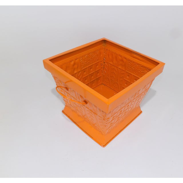 Contemporary Orange Square Metal Catchall Bin Organizer For Sale In Sacramento - Image 6 of 8