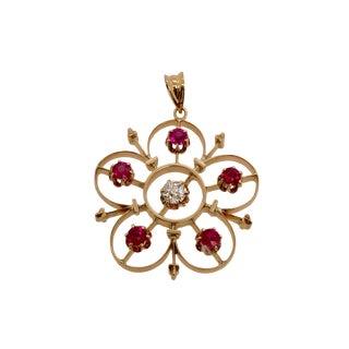 Victorian 14k Gold Diamond Ruby Starburst Pendant For Sale