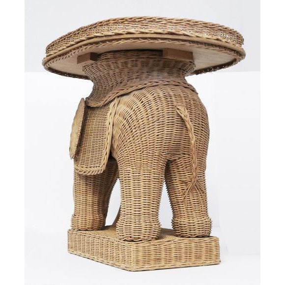 Figurative 1970s Vintage Wicker Elephant Side Tray TableBoho For Sale - Image 3 of 8