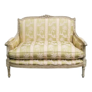 Vintage French Louis XVI Rococo Green Stripped Down Settee Sofa For Sale