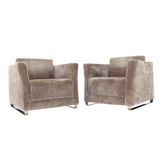 Pair of Bernhardt Upholstered Lounge Chairs on Metal Legs Bases.