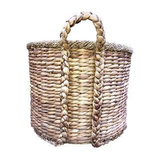 1970s Vintage Rattan Handwoven Basket For Sale