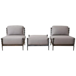 Pair of Michael Taylor Montecito Lounge Chairs With Ottoman For Sale