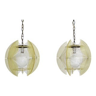Mid-Century Modern Lucite Nylon String Hanging Chain Lamp/Light Fixtures - a Pair For Sale