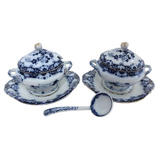 Antique Flow Blue Tureens W/ Ladle - 5 Pieces For Sale