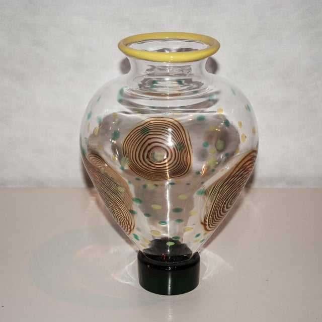 Salviati Salviati Post-Memphis Multicolored Glass Vase For Sale - Image 4 of 6