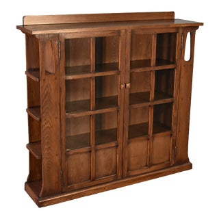 Crafters and Weavers Mission Double Door Bookcase With Side Shelves Walnut (W1) For Sale