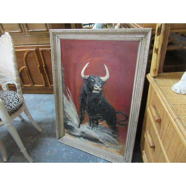 Thick Vintage Bull Painting - Image 5 of 7