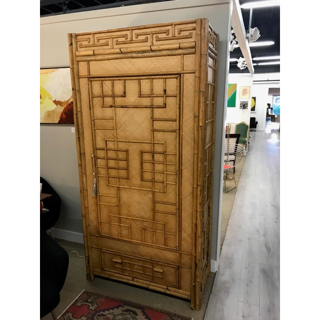 Vintage Rattan Bamboo Armoire Cabinet With Lucite And Brass Handle - Image 2 of 11