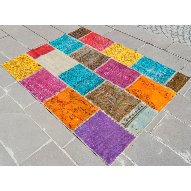 Turkish Handmade Patchwork Rug - 4′7″ × 5′9″ For Sale - Image 4 of 8