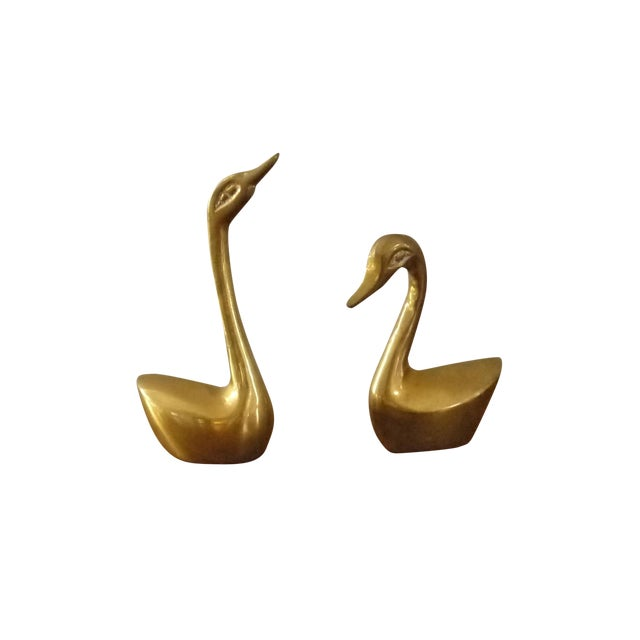 Mini Brass Swans - A Pair - Image 1 of 4