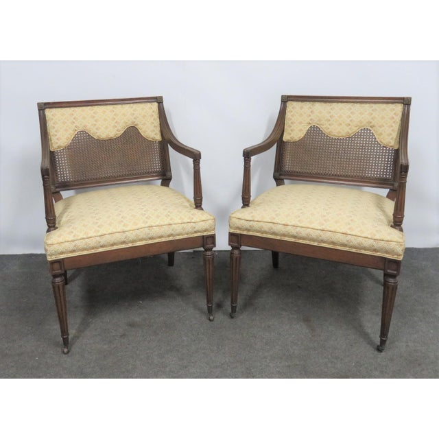 Wood Louis XVI Style Caned Back Upholstered Armchairs - a Pair For Sale - Image 7 of 7
