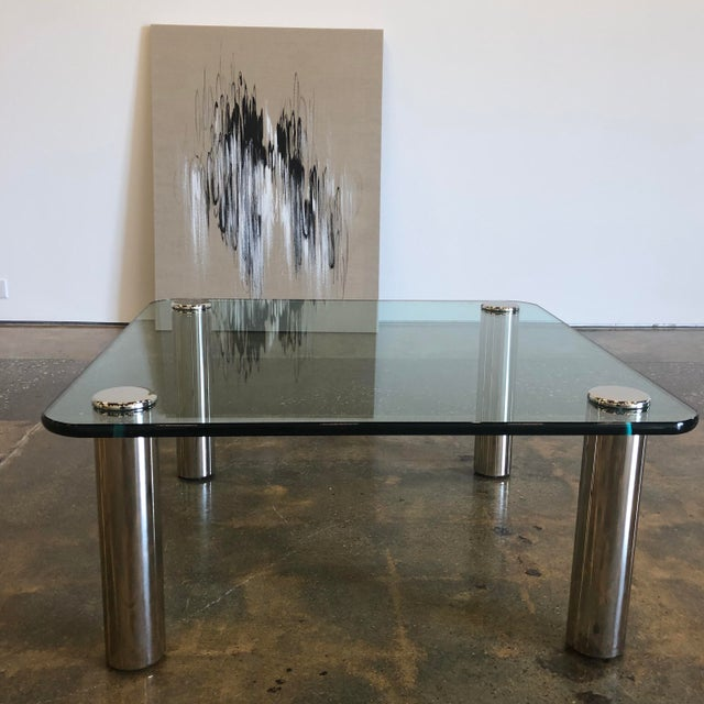 Marco Zanuso 1970s Mid-Century Modern Marco Zanuso Glass and Steel Coffee Table For Sale - Image 4 of 6