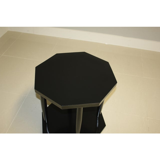 1940s French Art Deco Black Ebonized Coffee / Side Table For Sale - Image 9 of 13