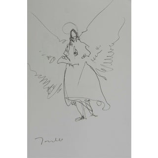 "Jose Trujillo Minimalist Pen Ink Paper 5x8"" Angel Angelic Modern Figures New Art For Sale"