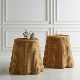 Pair of Wicker Trompe l'Oeil Draped Side Tables Preview