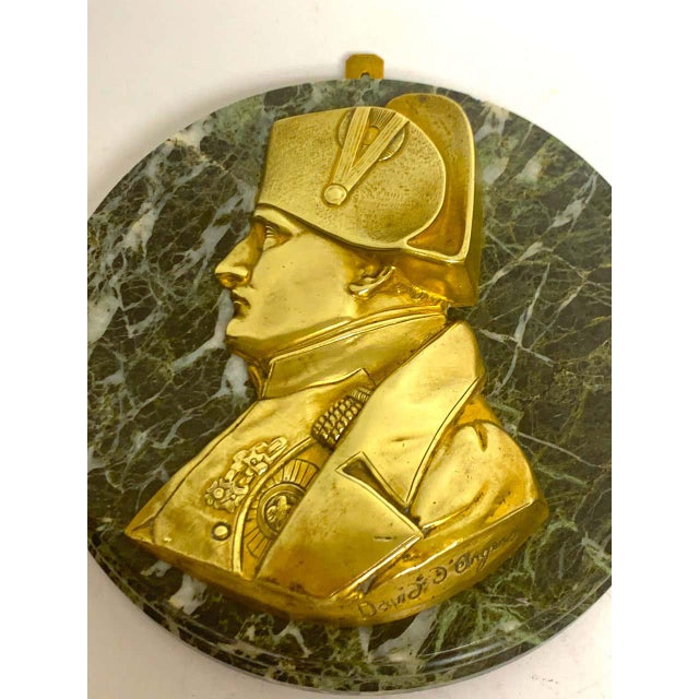 19th Century Pierre Jean David d'Anger Ormolu & Marble Portrait Plaque of Napoleon For Sale - Image 5 of 9