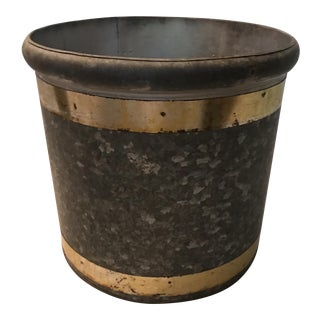 Brass Banded Galvanized Planter For Sale