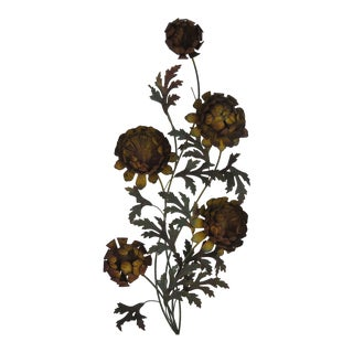 1960s Mid-Century Modern Curtis Jere' Style Metal Flower Wall Sculpture For Sale
