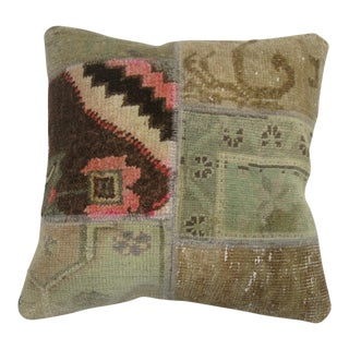 Patchwork Turkish Rug Pillow For Sale