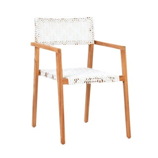 Teak & White Woven Dining Chair For Sale
