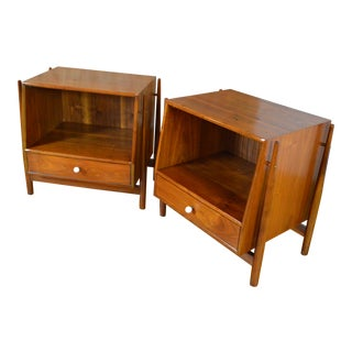 Drexel Declaration Mid Century Modern Walnut Night Stands - a Pair For Sale