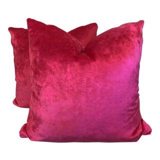 """"""" Velvet Treat"""" Hot Pink Kravet 22"""" Pillows-A Pair"""