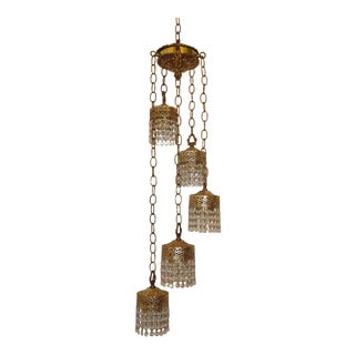 Vintage French Provincial Five Arm Swag Hanging Light W 400 Crystals Chandelier For Sale