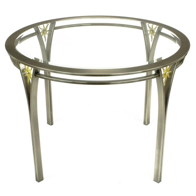 Gold DIA Round Brushed Steel and Brass Sunburst Dining Table For Sale - Image 8 of 8