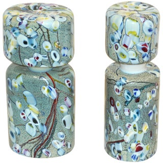 Pino Signoretto 1980s Silver Green Blue Yellow Red Murano Glass Bottles - a Pair For Sale