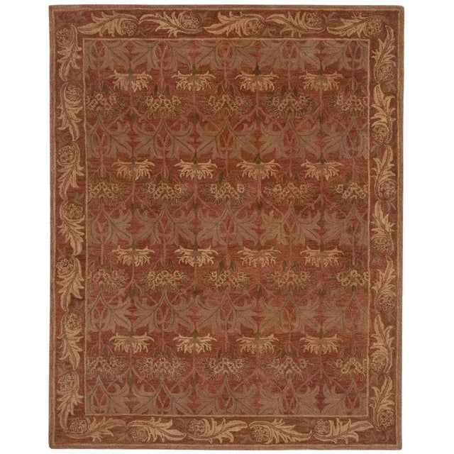 Arts & Crafts Red Arts & Crafts Hand Tufted Rug - 8′ × 10′ For Sale - Image 3 of 3