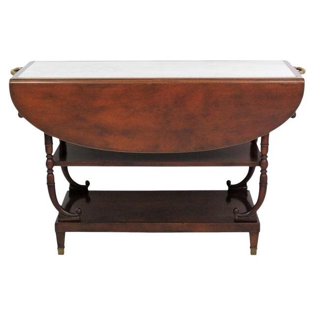 Directoire Style Marble Top Mahogany Drop Leaf Server Table For Sale