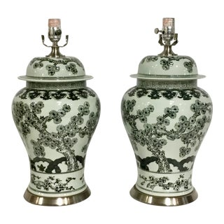 Currey & Co. Transitional Asian Style Porcelain Wilde Table Lamps Pair For Sale