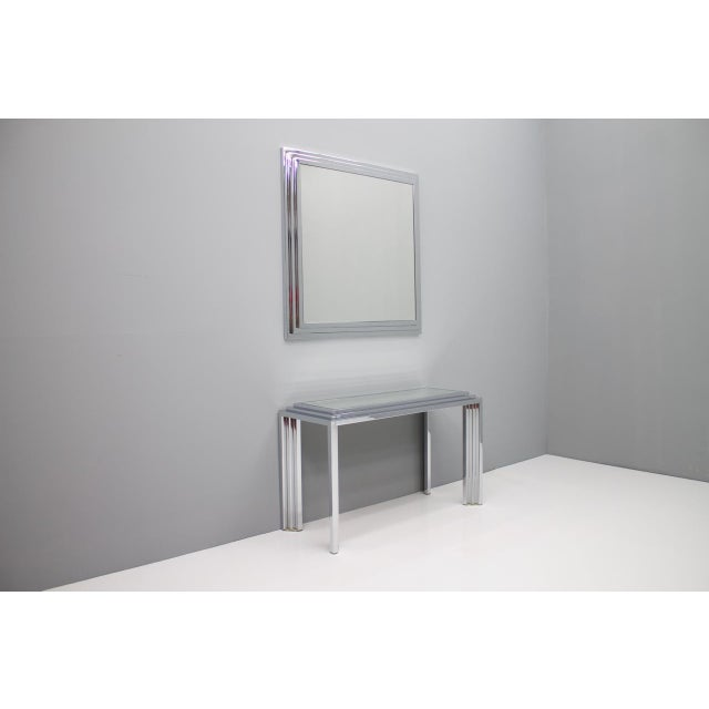 Hollywood Regency Chrome Mirror and Console Table, France, 1974 For Sale - Image 11 of 11