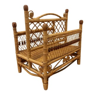 Mid-Century Curley Wicker Rattan Magazine Rack For Sale