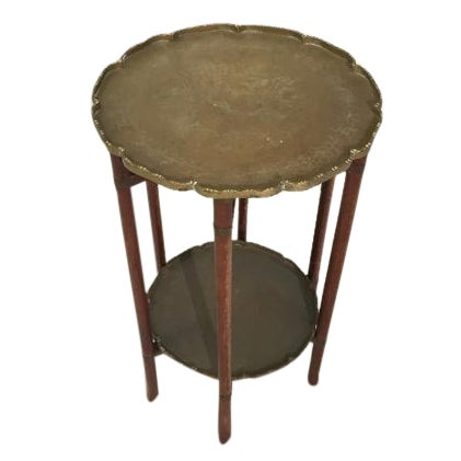 Antique Chinese Two-Tier Folding Table with Brass For Sale