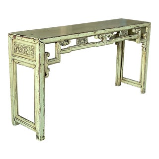 Chinoiserie Asian Green Distressed Console Altar Table For Sale