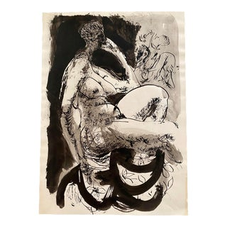 Hendrik Grise Black and White Seated Nude Female Painting Vintage 1970 For Sale