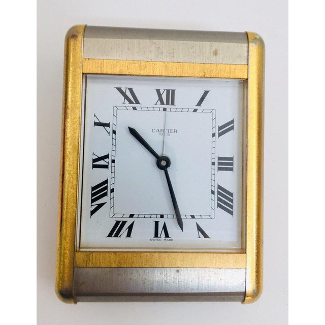 Cartier Two-Tone Gold and Steel Tank Desk Clock For Sale - Image 11 of 13