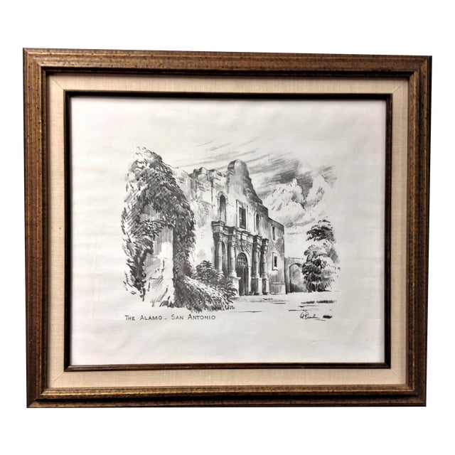 Vintage Alamo Drawing by Edward Bearden For Sale