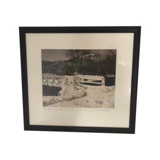 Vintage Black and White Photograph of Snow Covered Bridge For Sale