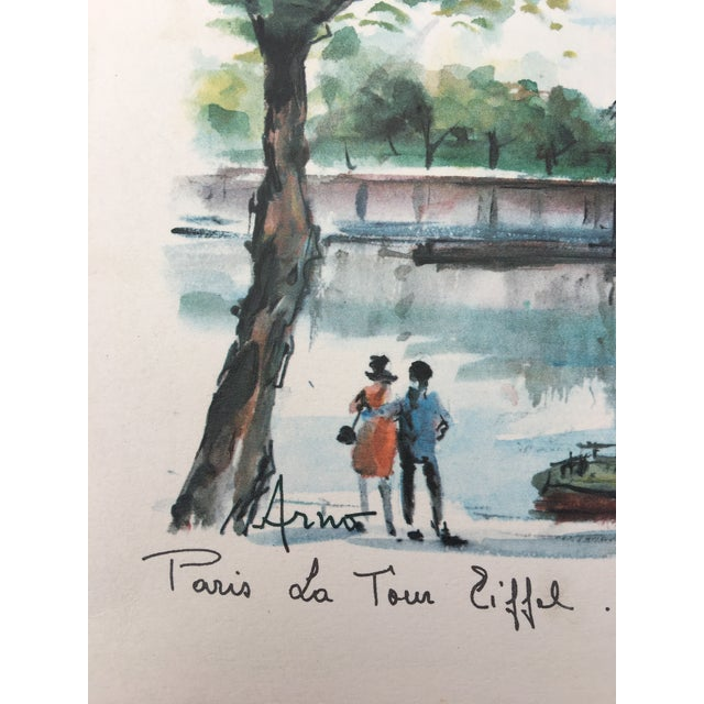 Contemporary French Watercolor Print of Paris For Sale - Image 3 of 5