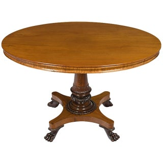 19th Century Empire Style Large Oval Center Foyer Table For Sale