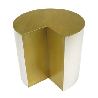 Unusual Chrome Cylinder Table With Bronze Top and Open Wedge For Sale