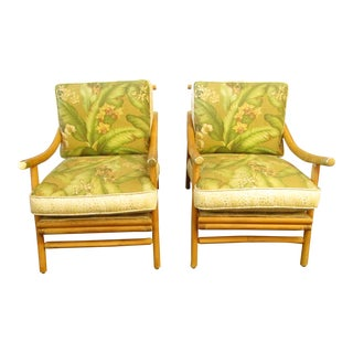 Vintage Bamboo Side Accent Chairs - a Pair For Sale