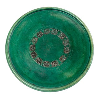Antique Japanese Green Ceramic Oribe-Style Oil Plate For Sale