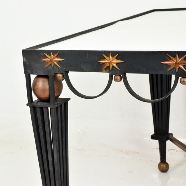 Gilbert Poillerat Mid Century French Modernist Star Dining Table After Gilbert Poillerat For Sale - Image 4 of 10